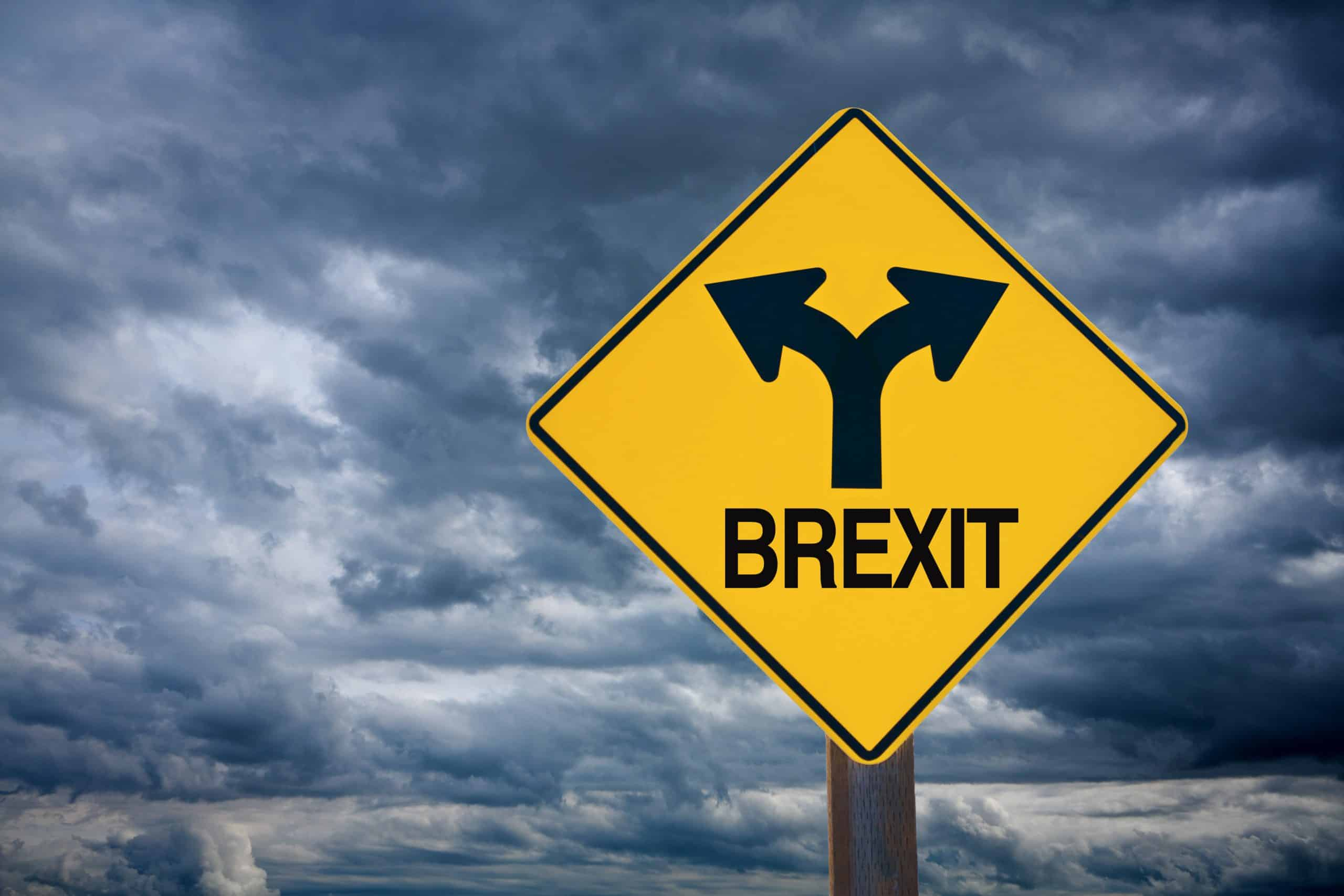 BREXIT Road Sign with Stormy Sky Future Ahead