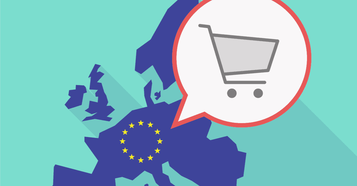 a-picture-of-europe-on-a-green-background-with-a-shopping-cart-looming-over-it-showing-the-new-eu-vat-rules-that-are-coming-into-effect-from-the-beginning-of-july-2021