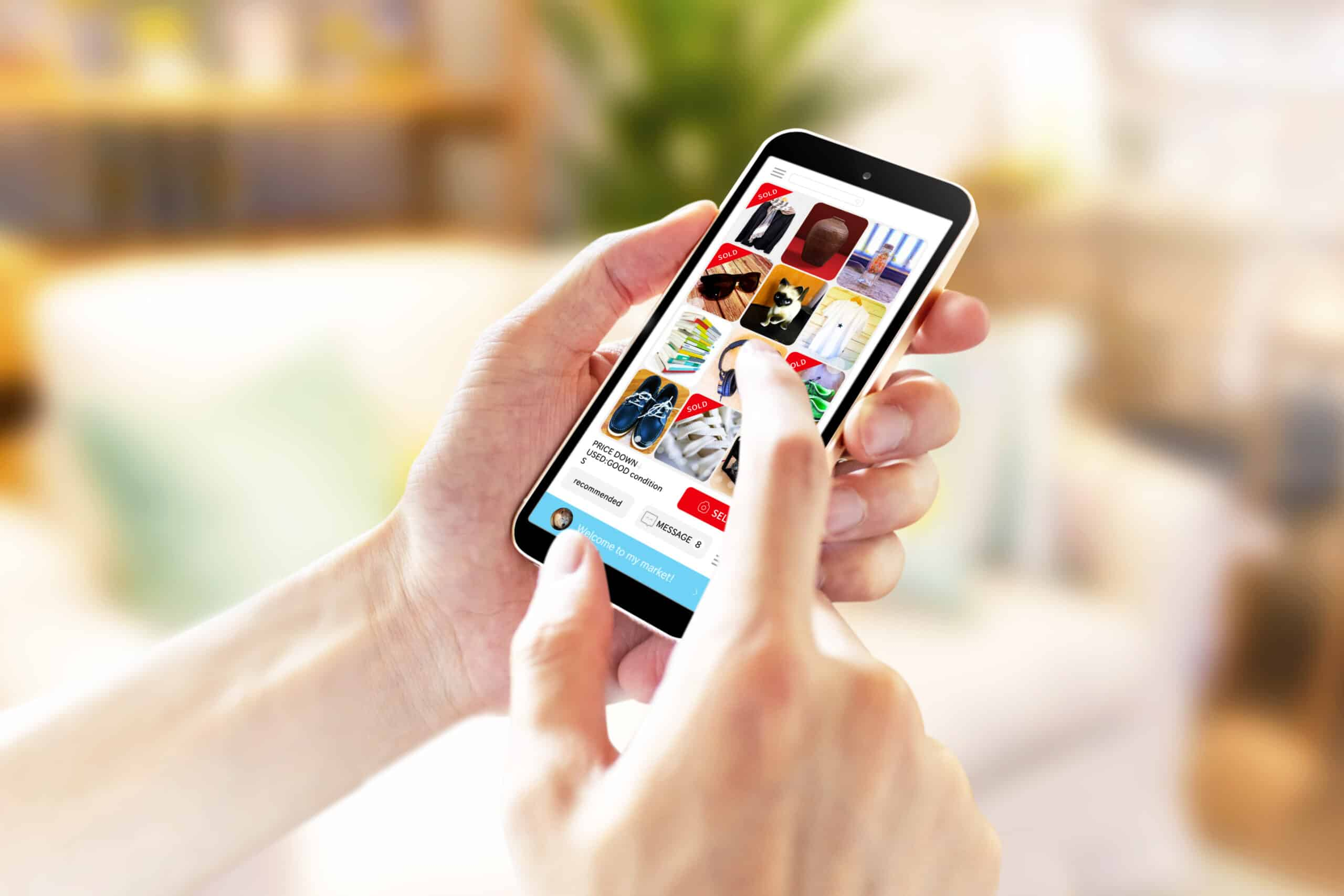 an image of someone using a social media site to make ecommerce purchases