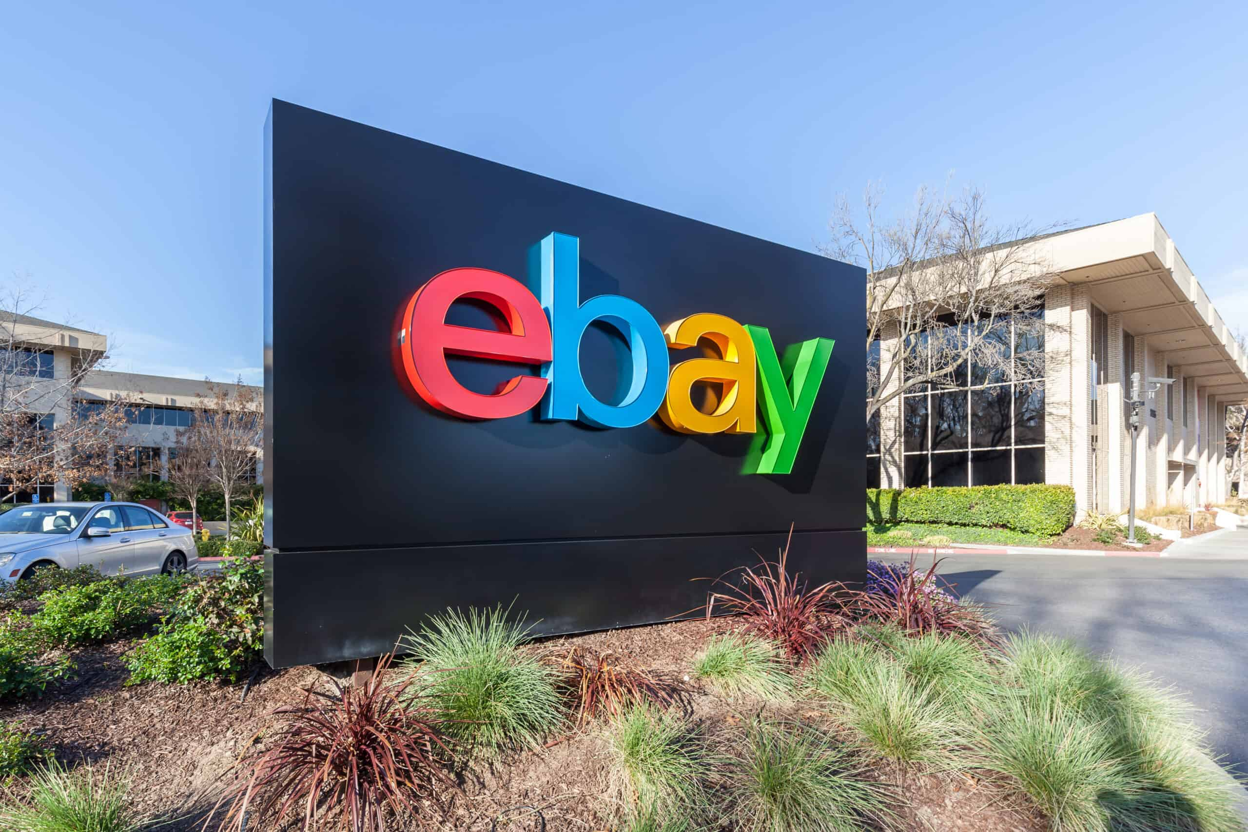 eBay sign at eBay 's headquarters in Silicon Valley. eBay Inc. is a multinational e-commerce corporation that have just launched a new star plan in china