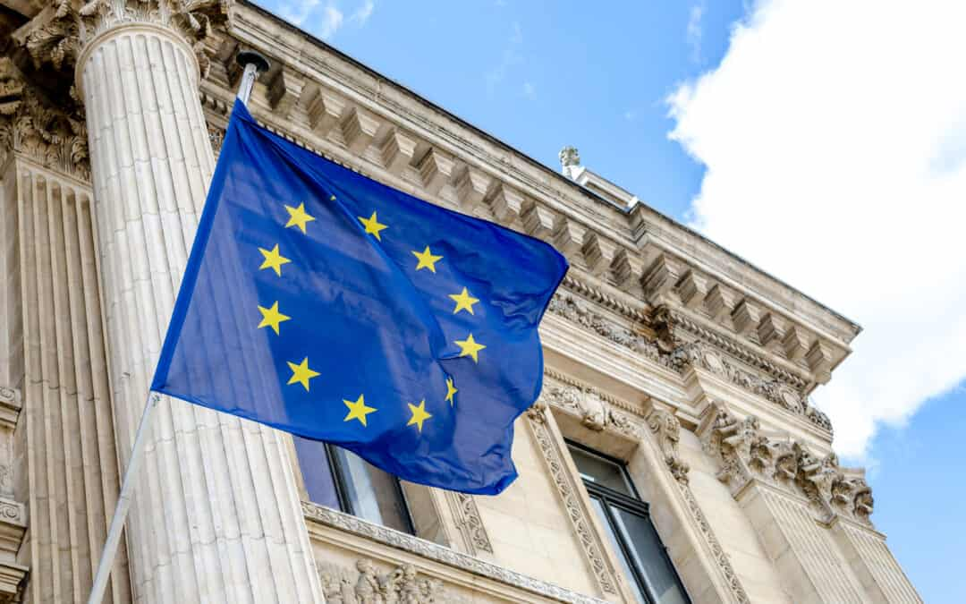 European Union flag flying outside the Bourse in Brussels, Belgium