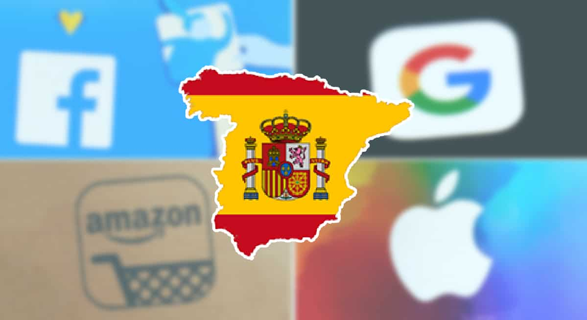 A spanish flag with big services companies in the background such as apple and Amazon